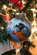 Hand-Painted Ornament - Oriole in Winter With Berries