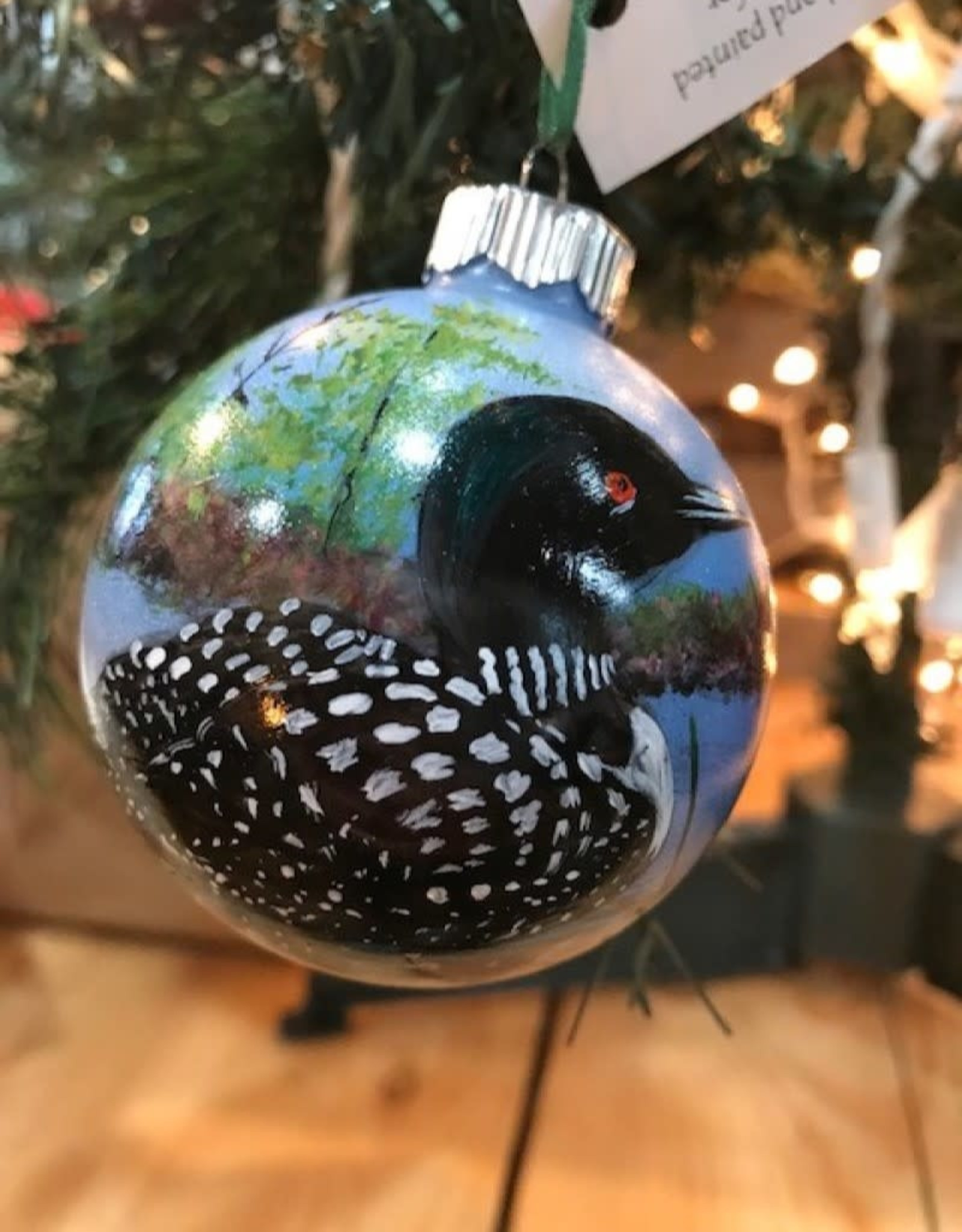 Hand-Painted Ornament - Loon in Summer