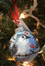 Hand-Painted Ornament - Tufted Titmouse in Winter with Berries