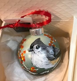 Hand-Painted Ornament - Tufted Titmouse with Berries
