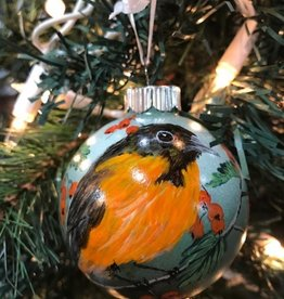 Hand-Painted Ornament - Oriole in Spring