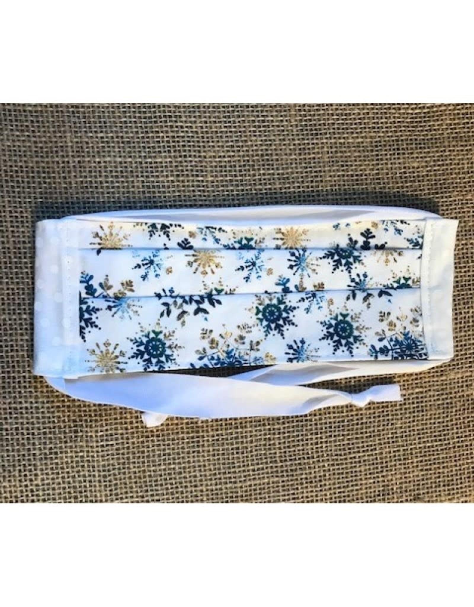 Bear Den Handmade Cotton Mask - Blue Snowflakes on White