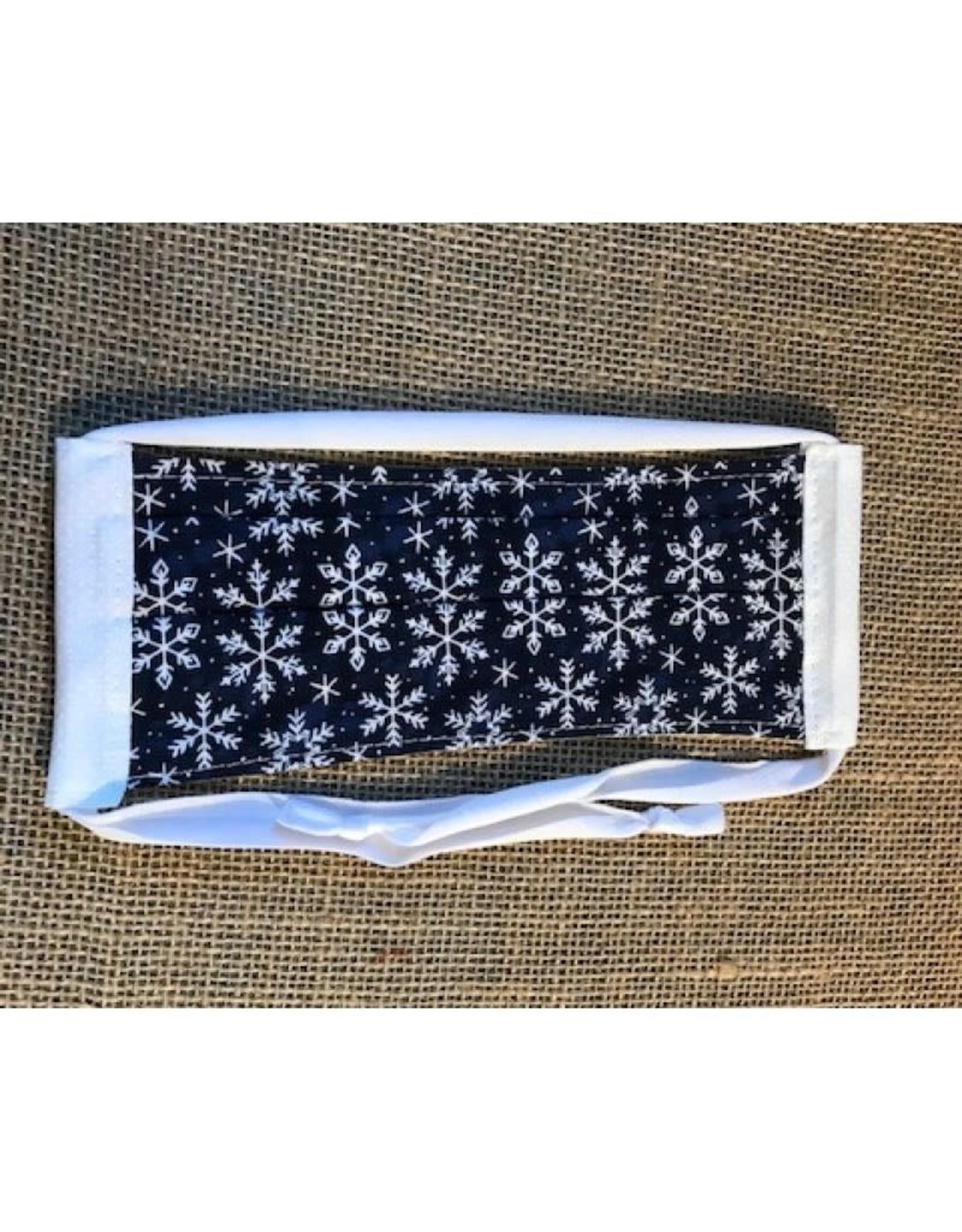 Bear Den Handmade Cotton Mask - White Snowflakes on Blue