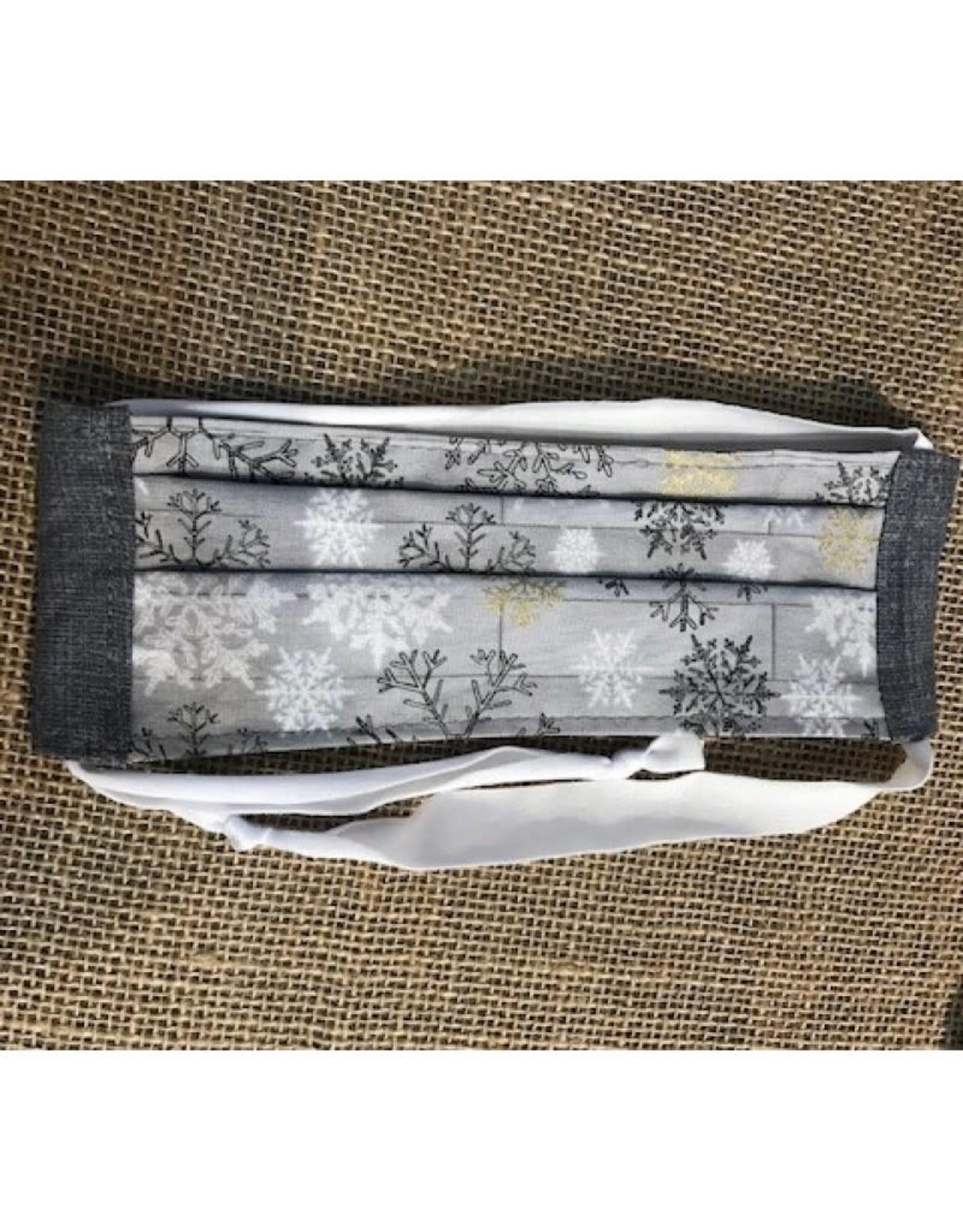 Bear Den Handmade Cotton Mask - Snowflakes - Gray on Barnwood