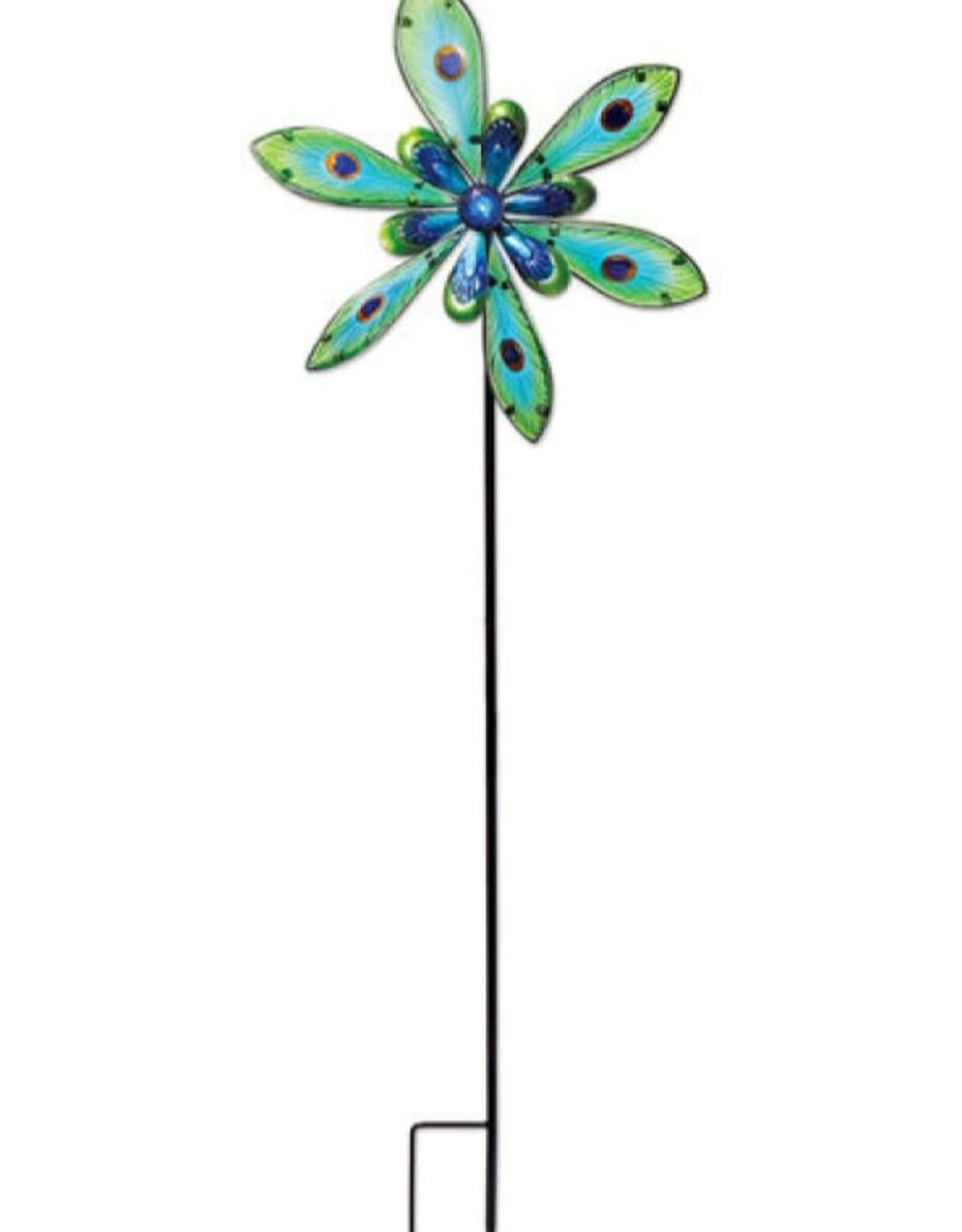 Wind Spinner Spinner Stake - Glass & Metal Peacock