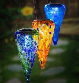 Solar Hanging Lantern - Blue/Green Art Glass