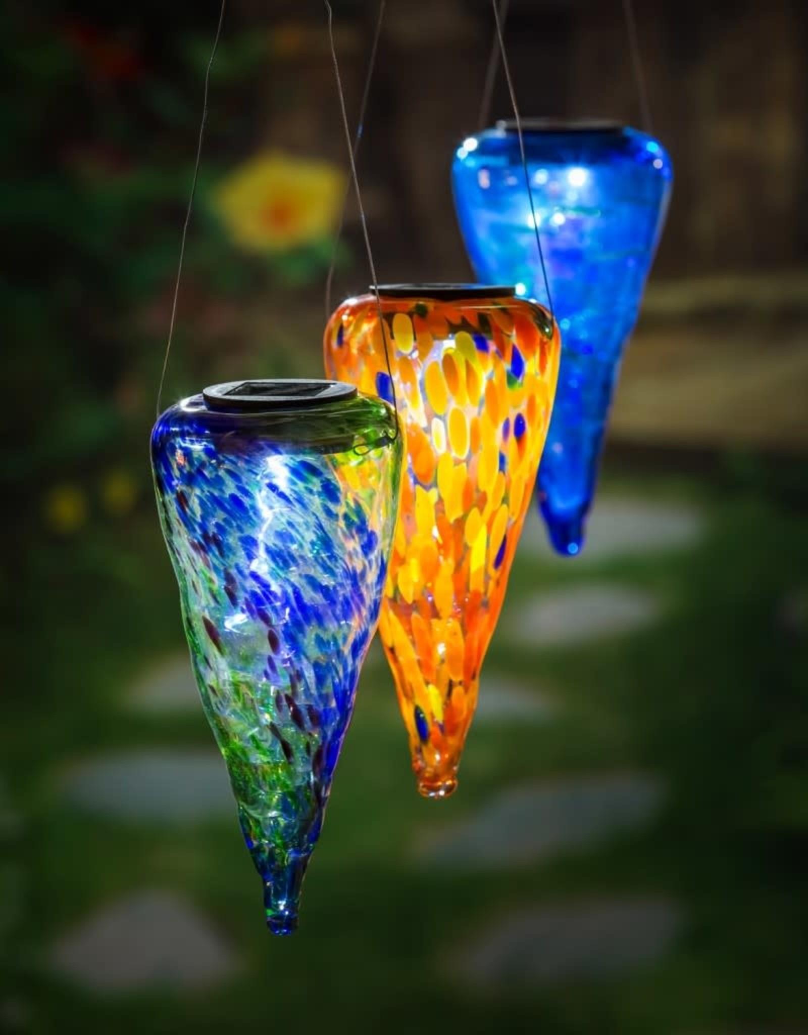 Solar Hanging Lantern - Red/Orange Art Glass