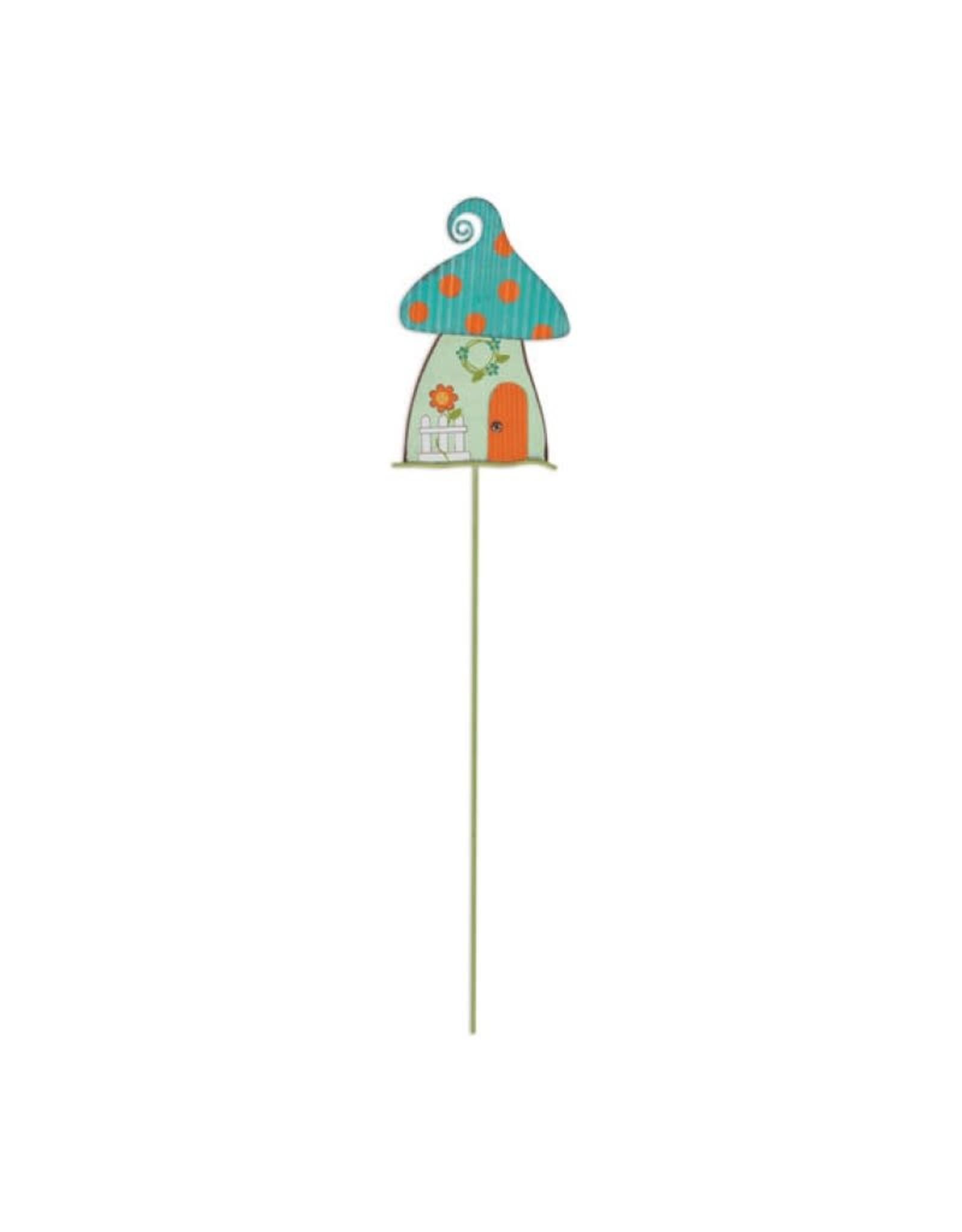 Garden Stake - Blue Mushroom House