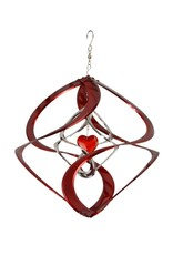 Bear Den Helix Hanging Helix - 14 Inch Red Heart & Silver