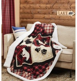 Quilted Sherpa Throw - Diamond Bear