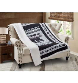 Quilted Sherpa Throw - Moon Bear