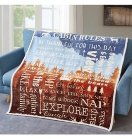 Flannel Sherpa Throw - Cabin Rules