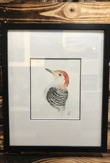 Michele Detering Art Red Bellied Woodpecker - Framed Original 14x17