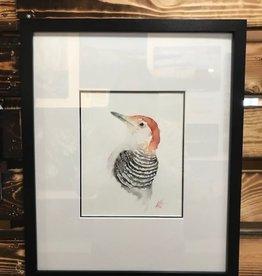 Michele Detering Art Red Bellied Woodpecker - Framed Original 14x17