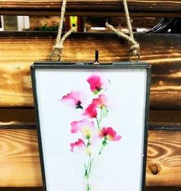 Michele Detering Art Sweet Pea - Framed Metal Giclee 5''x7''