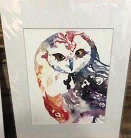 Michele Detering Art Rainbow Owl -11x14 Matted Print