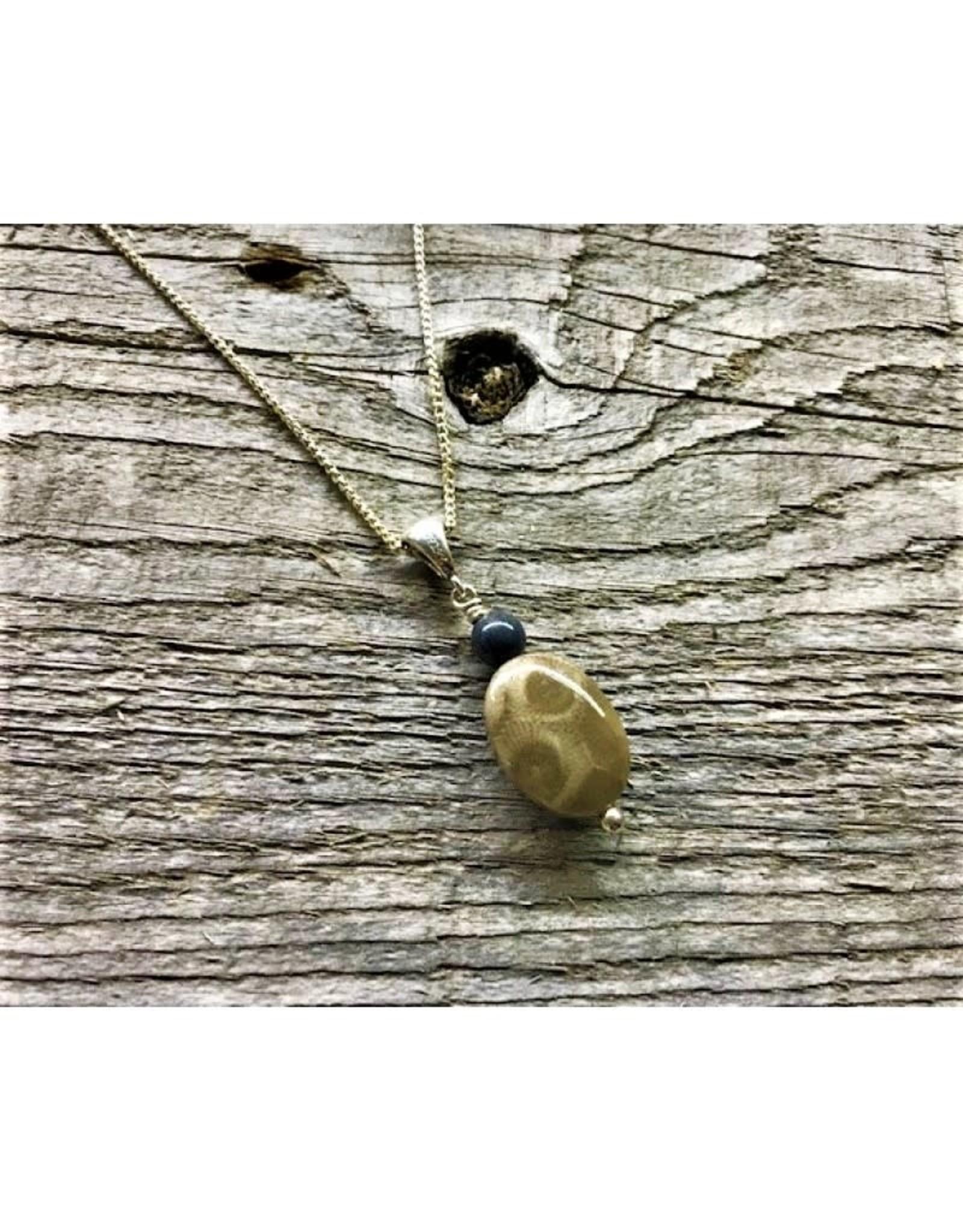 Necklace Pendant - Petoskey Stone with Leland Blue Bead