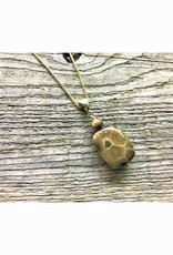 Necklace Pendant - Petoskey Stone with Petoskey Stone Bead