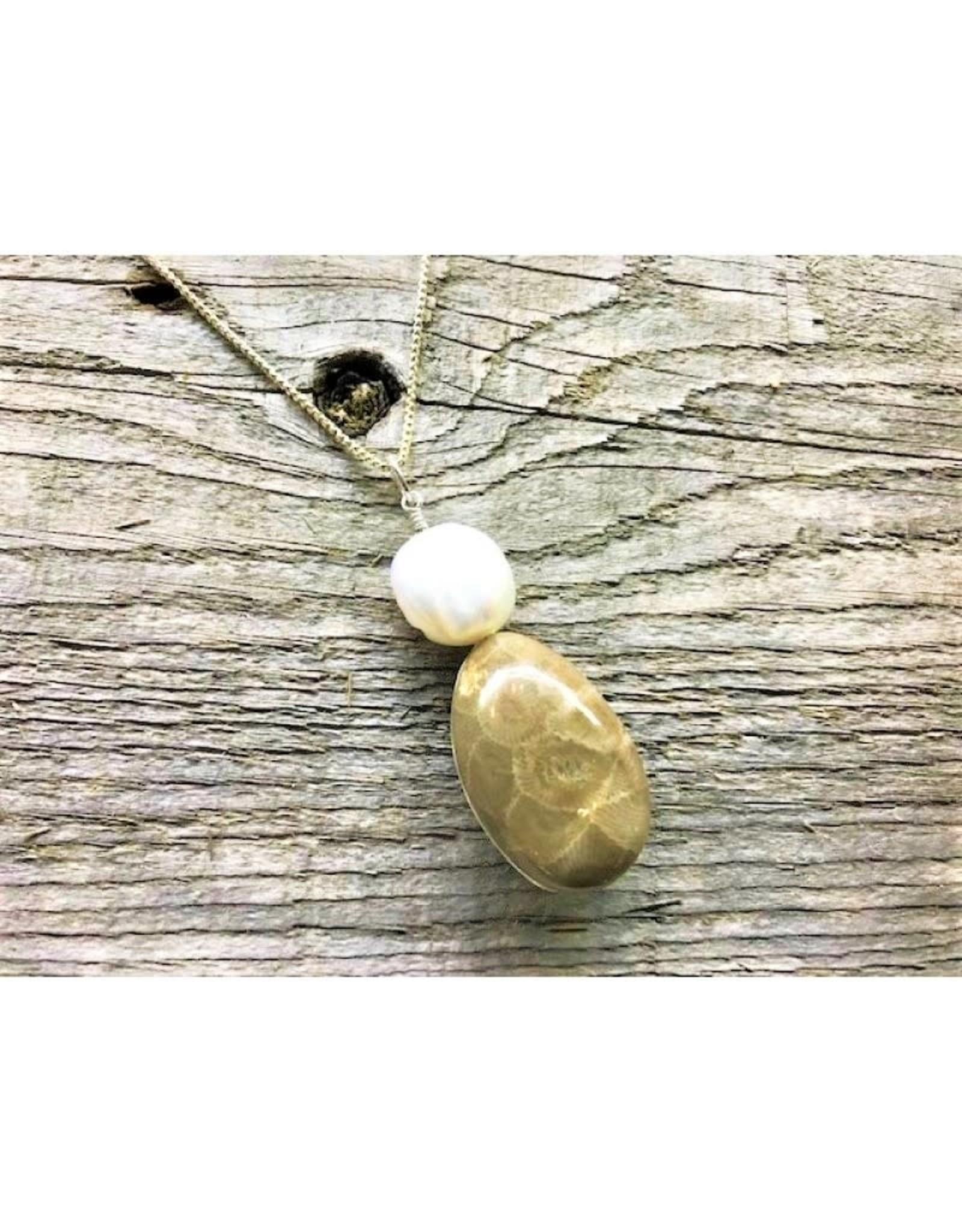 Necklace Pendant - Petoskey Stone & Freshwater Pearl