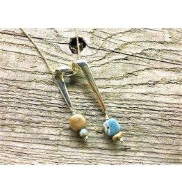 Ribbon Necklace Pendant - Leland Blue & Petoskey Stone