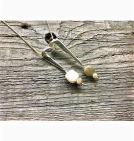 Ribbon Necklace Pendant - Freshwater Pearl & Petoskey Stone Squares
