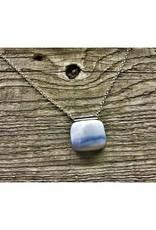 Pendant Necklace - Blue Opal Lg Sq