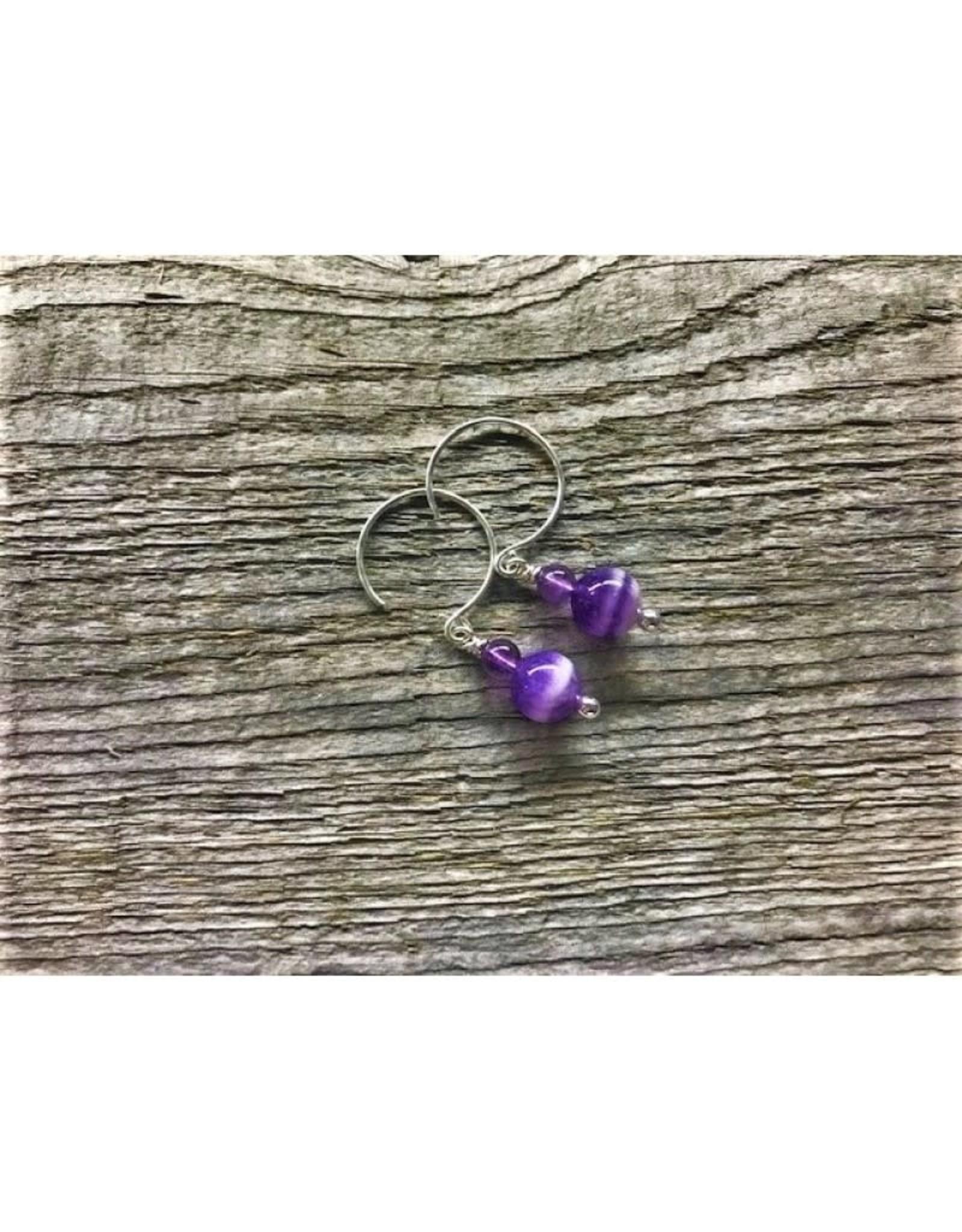 Circle Earrings - Amethyst 2 Bead