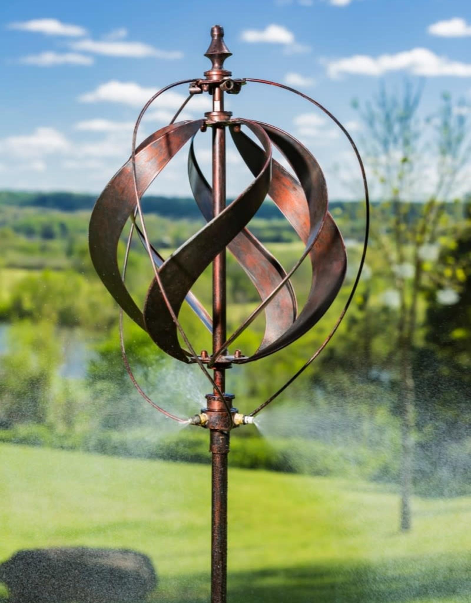 Kinetic Wind Spinner Stake - Misting Copper Sphere