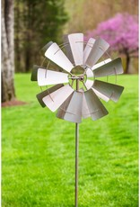 Kinetic Wind Spinner Stake - Galvanized Windmill