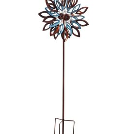 Kinetic Wind Spinner Stake - Copper and Verdigris Leaves