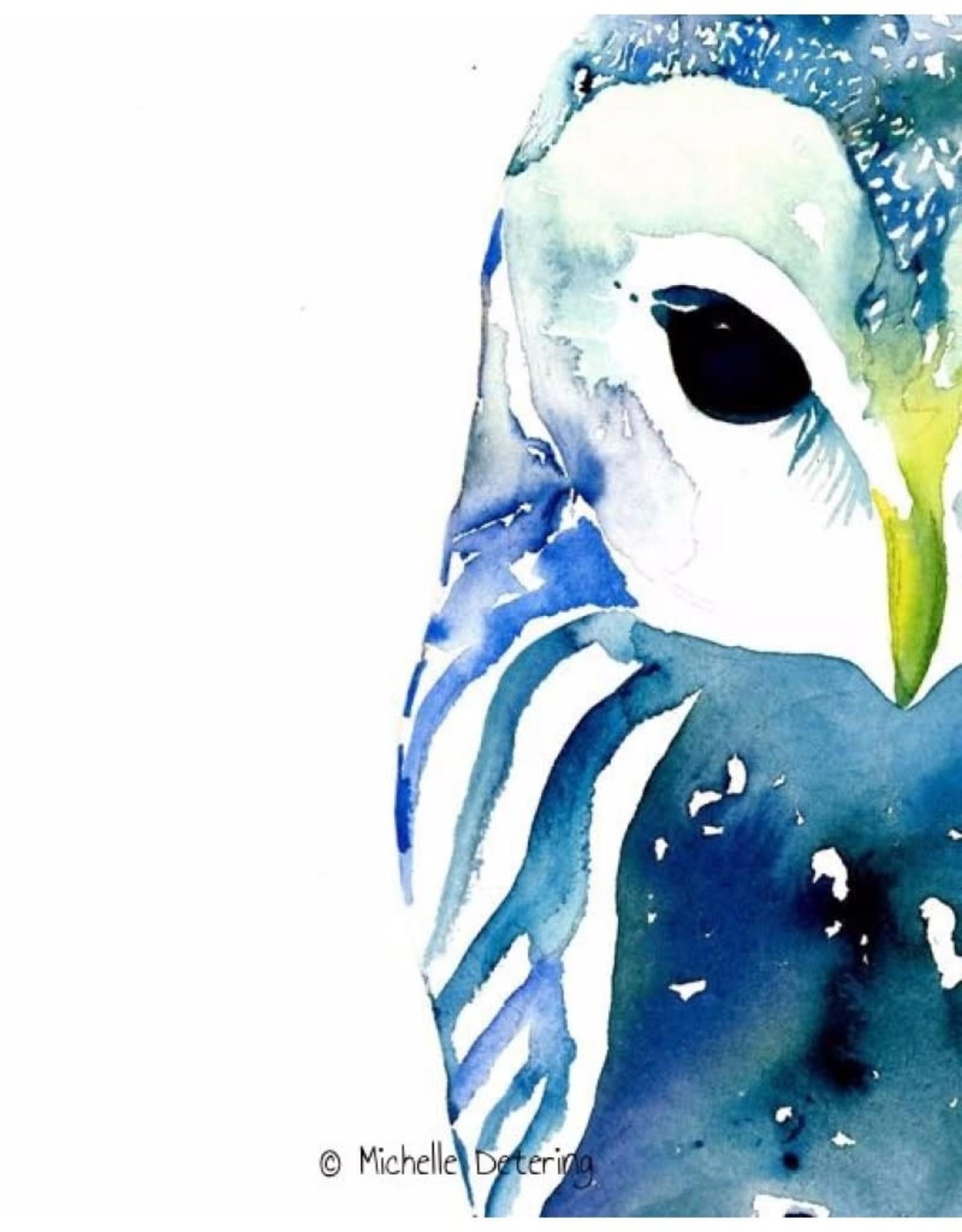 Michelle Detering Art Michelle Detering Limited Matted Print - Owl in Blue