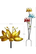 Triple Metallic Lotus Flower Spinner Stake