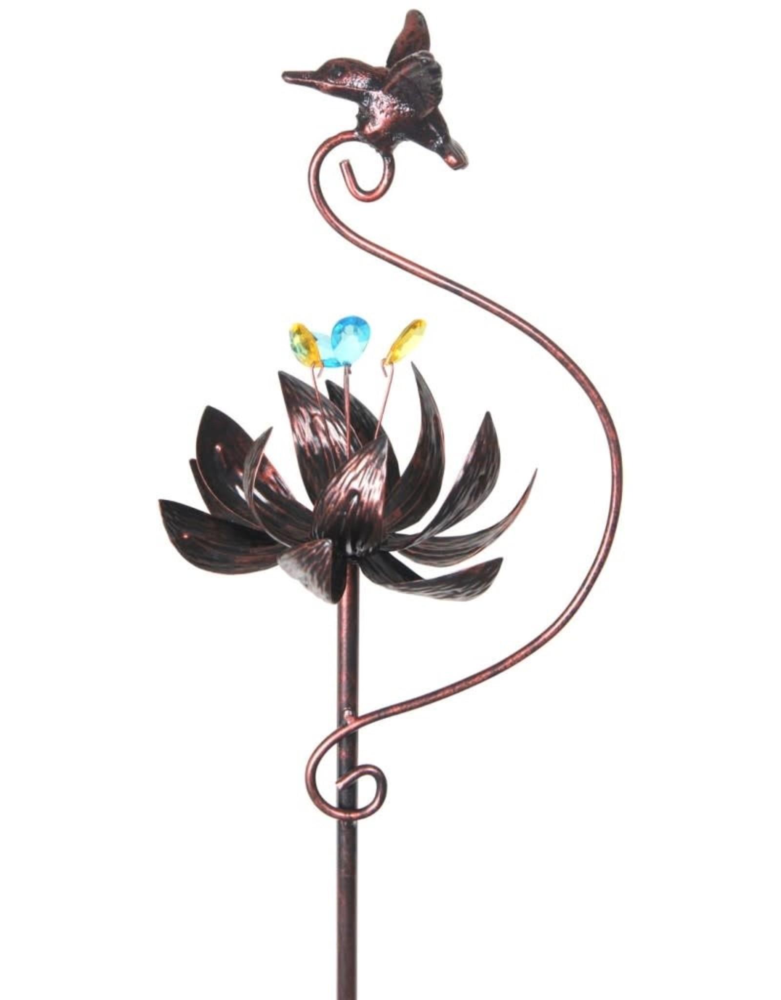 Kinetic Lotus - Bronze with Hummingbird