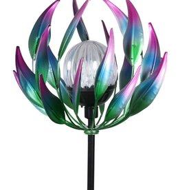 Solar Spinning Lotus Stake - Blue