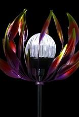 Solar Spinning Lotus Stake - Red