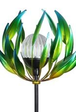 Solar Spinning Lotus Stake - Green