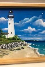 """""""South Manitou Lighthouse Stone Wall"""" 11x14 Original Acrilyc"""