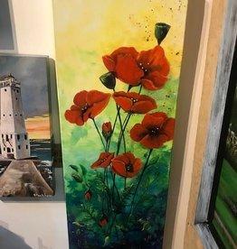 """Tall Red Poppies"" - Original Acrylic 12x36"