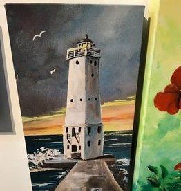 """Frankfort Lighthouse"" 8x16 Embellished Canvas Print"