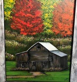 """Fall Barn"" 27x33 Original Acrylic"