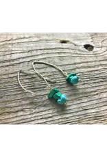 Long Wire Earrings - Malachite & Turquoise
