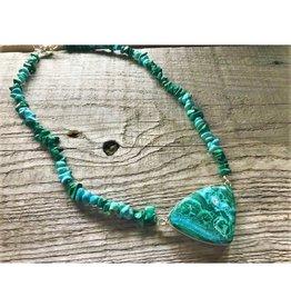 Pendant Necklace - Malachite & Turquoise 19 inches