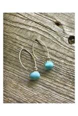 Long Wire Earrings - Larimar Bezel
