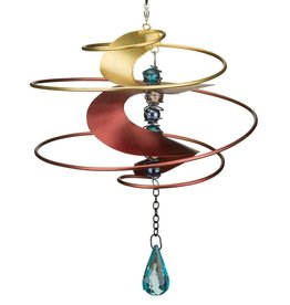 Hanging Wind Spinner - Red w/Blue Jewel