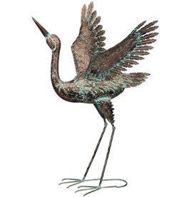 Patina Crane - Wings Up 38''
