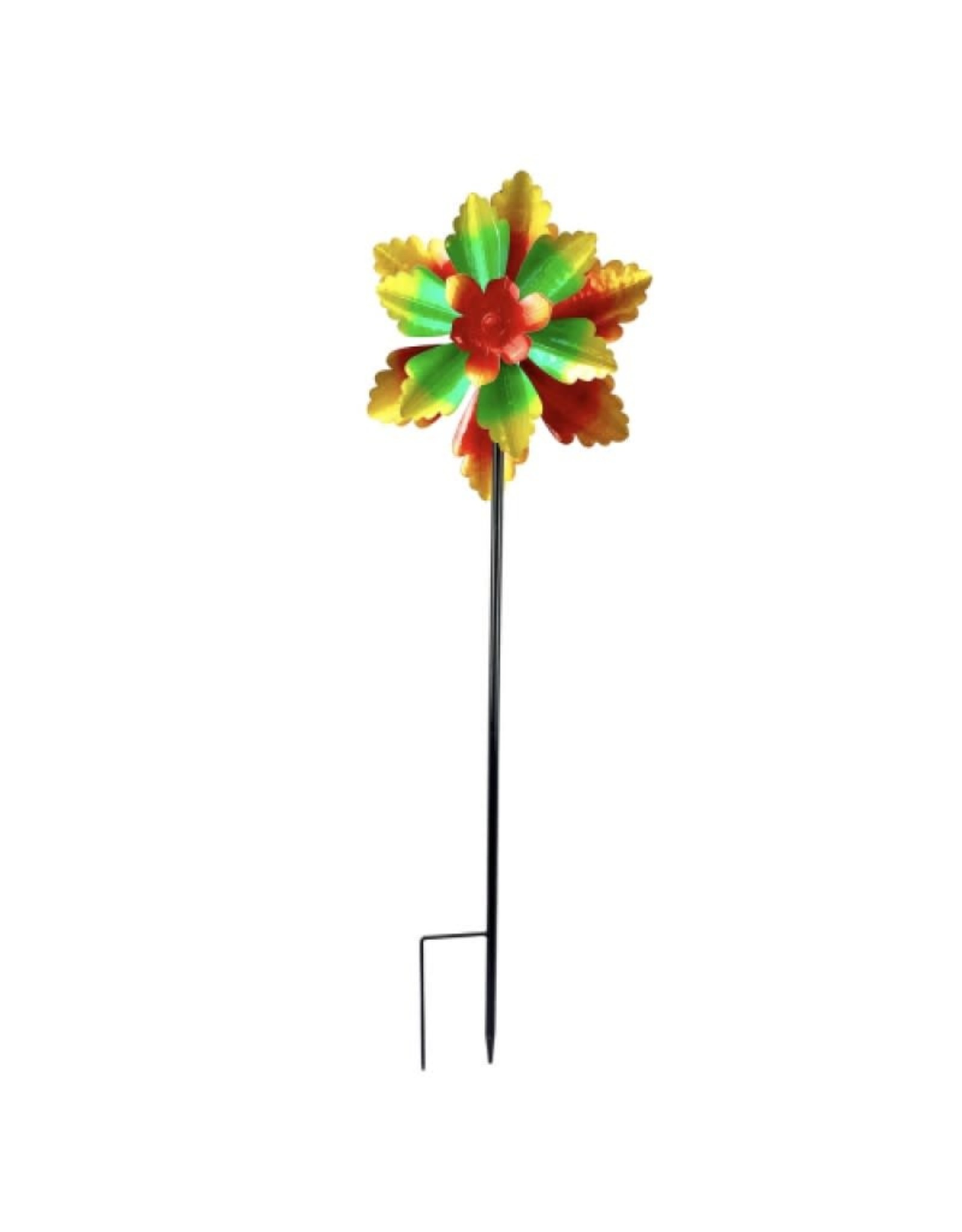 Wind Spinner Stake/Hanging Spinner - Double Flower Red/Green/Yellow