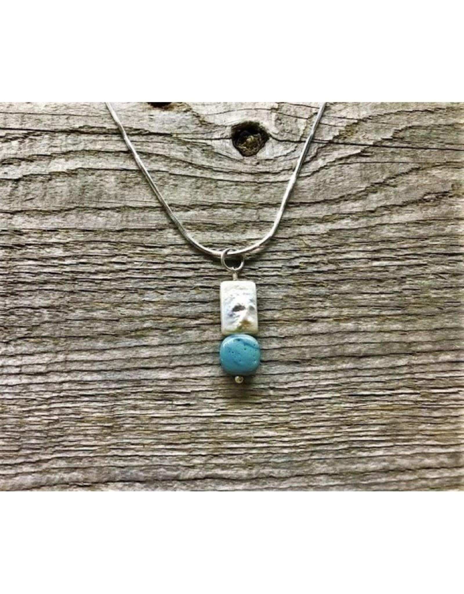 Necklace Pendant - Freshwater Pearl & Leland Blue