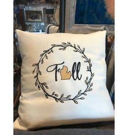 Bear Den Handmade Embroidered Pillow - 19'' Fall MI Beige/Gold