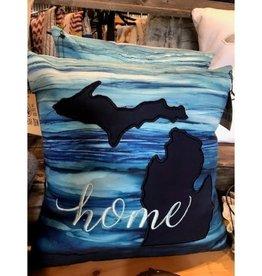 Bear Den Handmade Embroidered Pillow - 19'' Michigan Home Blue Watercolor