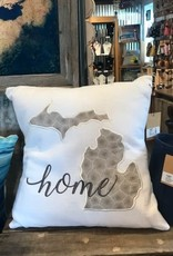Embroidered Pillow - 18'' Michigan Petoskey Stone Beige